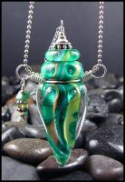 Green Goddess - Lampwork Bottle by andromeda
