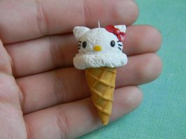 Hello Kitty Ice Cream Cone-Red Bow by ThePetiteShop