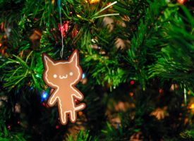 Gingerbread Cat Ornament by brandimillerart