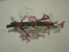 plastic cherry blossoms by recycledrapunzel