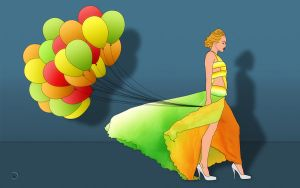 The Woman With The Balloons by 2-0-1-9