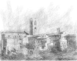 Tuscan Mountain Village Sketch by Pendragon1951
