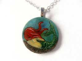 Red Haired Mermaid Pendant Necklace / Sold by sobeyondthis