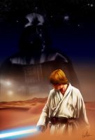 Star Wars A New Hope Luke Skywalker - Darth Vader by MrWills