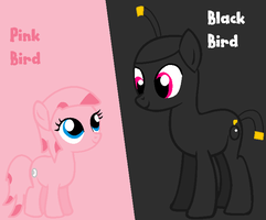Angry Birds MLP - Black Bird and Pink Bird by worldofcaitlyn
