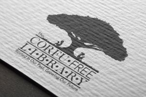 Corfu Library logo-mockup in Black and White by Car2nst