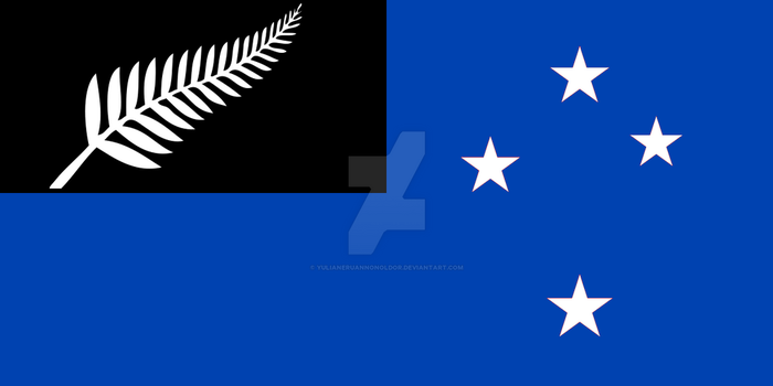 Alternative New Zealand Flag (with Fern) in Blue by YulianEruannoNoldor