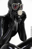 Black Latex Rubber Girl in a White Room. 51 by agnadeviphotographer