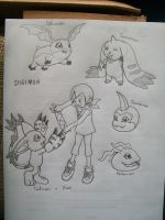 some Digimon sketches by laryssadesenhista