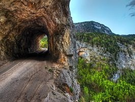 Mountain Road With Tunnel By Burtn by M-Lewis