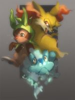 Pokemon X Y Starters by skulldog