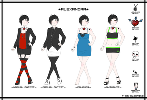 Alexandra [Character Outfit Reference Sheet] by TheShelberine