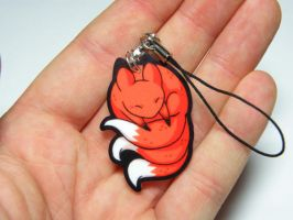 Kitsune acrylic charm by michellescribbles