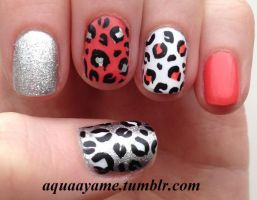 Fun Coral Leopard Print by aquaayame