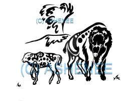 Yellowstone Tribal Series - Bison with geyser by Ashenee