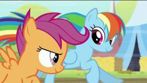 Rainbow Dash praises Scootaloo for the jump (Gif) by CMC--Scootaloo