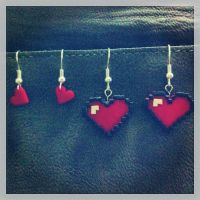 8-bit Heart Earrings by Sherylwoo