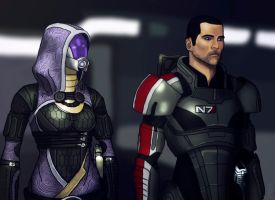 Tali and Shepard by SH1ft-R