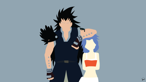 Gajeel/Levy (Fairy Tail) Minimalist Wallpaper by greenmapple17