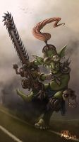Blood bowl chainsaw goblin by Traaw