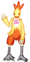 Request: Combusken as Chica by RiddersmanGrim