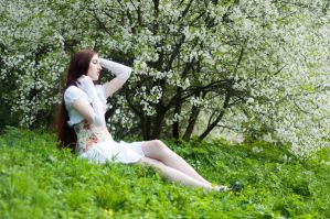 Girl in White Sitting by ann-emerald-stock