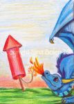 4th of July Dragon ACEO by The-GoblinQueen