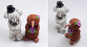 Koala Bear and Kiwi Bird Wedding Cake Topper by HeartshapedCreations