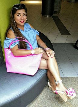 Barbie doll shoes and Hot pink bag by Notprovided