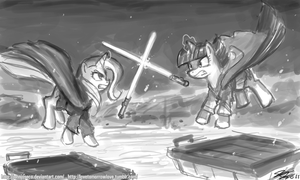 Jedi Battle Trixie vs Twilight by johnjoseco