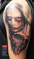 Pain face with skull by enhancertattoo