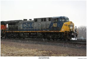 CSX 422 in the Snow by hunter1828