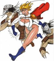 Power Girl vs Preditors color by wiler11
