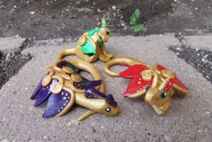 Golden Fairy Dragon Trio by Draconic-Angel