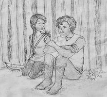 Katniss and Gale by talita-rj