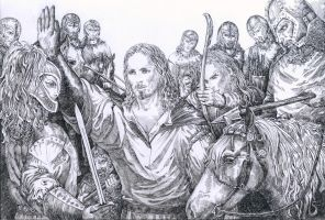 Aragorn meets the Rohhirims by Venlian