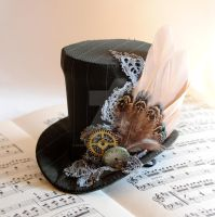 Winter Forest - Steampunk Mini Top Hat by RagDolliesMadhouse