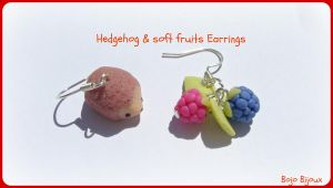 Hedgehog and soft fruits earrings by Bojo-Bijoux