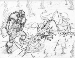 Orc and chained dragon pencil by fan4battle