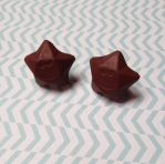 Chocolate star studs by SilverParadoxx