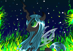 Chrysalis ablaze by MermaidSoupButtons