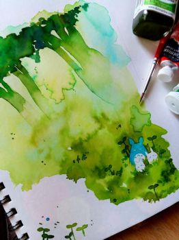 Totoro watercolour by Kidura
