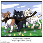 Puppies First Spring by Jaimep