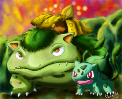 Shiny Venusar and Bubasaur by Phatmon