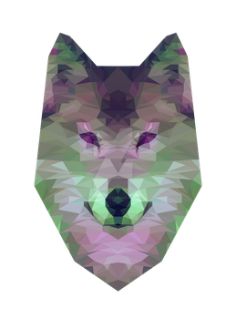 Polygon wolf Purple and Green by Jay-teh-butt