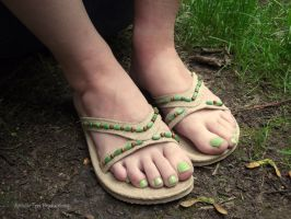 Cute Bead Flip Flops by Foxy-Feet