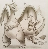 Charizard and Glaceon by Bluekiss131