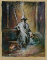 Gandalf watercolor and white-black ink by masiani