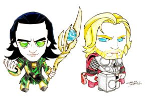 Loki Thor Big Heads color by Rose91