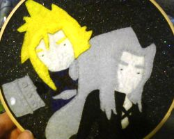 Cloud and Sephiroth Felt Hoop by LilPKCreations